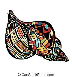 ベクトル, seashell., illustration.