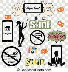 ベクトル, selfie, セット, アイコン, 関係した