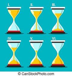ベクトル, set., シンボル。, 砂, clocks, icon., sandglass, 砂時計