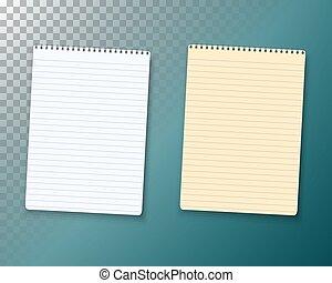 ベクトル, set., メモ用紙, ノート型パソコンペーパー, テンプレート