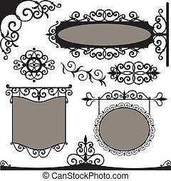 ベクトル, set:, 細工された鉄, 型, サイン
