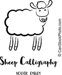 ベクトル, sheep, カリグラフィー, 紋章