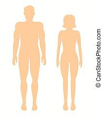 ベクトル, silhouettes., 人, 人間, 女