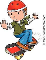 ベクトル, skateboarder, イラスト