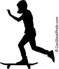 ベクトル, skateboarders, illustration., silhouette.