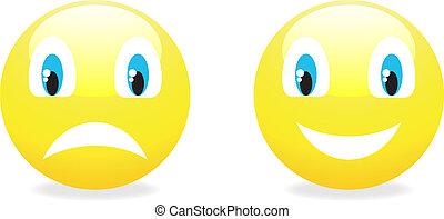 ベクトル, smiley, 黄色, emoticon.