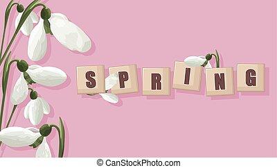 ベクトル, snowdrops, 春, 白, 紫色, 旗