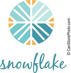 ベクトル, snowflake., 概念, イラスト, アイコン