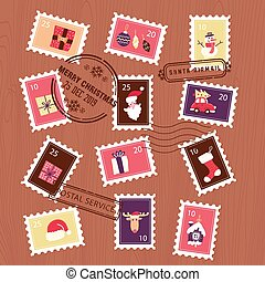 ベクトル, stamps., クリスマス, envelope., 手紙, 平ら, イラスト, セット, コレクション