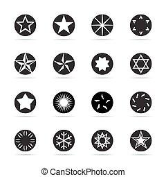 ベクトル, stars., セット, 黒, illustration.