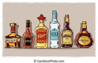 ベクトル, stemware, セット, びん, アルコール