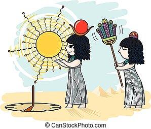 ベクトル, sundial., イラスト, エジプト人
