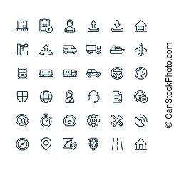 ベクトル, symbols., アウトライン, アイコン, ビジネス, 出産, セット, 薄いライン, 分配, ロジスティックである