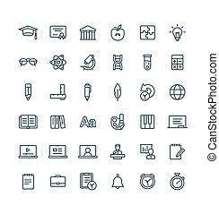ベクトル, symbols., アウトライン, アイコン, 教育, セット, 薄くなりなさい, 勉強, オンラインで, 線