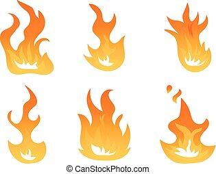 ベクトル, symbols., 炎, 火, 照明効果, 燃えている, 効果, イラスト, エネルギー, 暑い, アニメーション, 炎, 点火, 背景, 白, set., 漫画