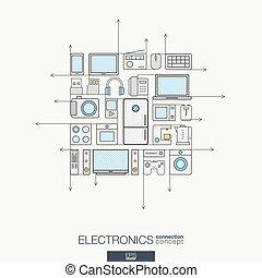 ベクトル, symbols., 色, 現代, 線, 概念, 薄くなりなさい, エレクトロニクス, インテグレイテド