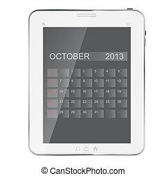 ベクトル, tablet., 年, 抽象的, カレンダー, デザイン, イラスト, 2013