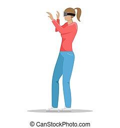 ベクトル, technology., バーチャルリアリティ, 女の子, glasses., 平ら, 現代, illustration.