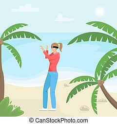ベクトル, technology., バーチャルリアリティ, 女の子, glasses., 平ら, tropics., 現代, illustration.