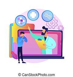 ベクトル, telehealth, illustration., 概念, 抽象的