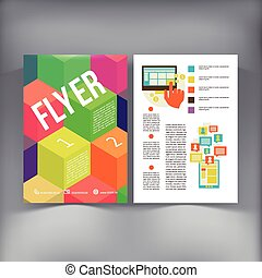 ベクトル, template., パンフレット, 抽象的, フライヤ, デザイン