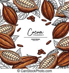 ベクトル, template., 図画, 有機体である, superfood, 豆, ココア, frame., フルーツ...