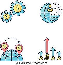 ベクトル, using., 世界, set., ビジネス, 取引しなさい, 隔離された, edge., 国際的な貿易, 取引, 世界的である, イラスト, 色, 資源, アイコン, 資産, 自然, rgb, 競争