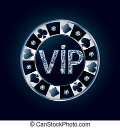 ベクトル, vip, チップ, ポーカー, ダイヤモンド