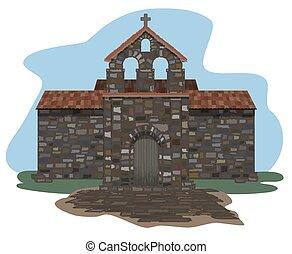 ベクトル, visigothic, スペイン語, イラスト, 古代, 教会, style.