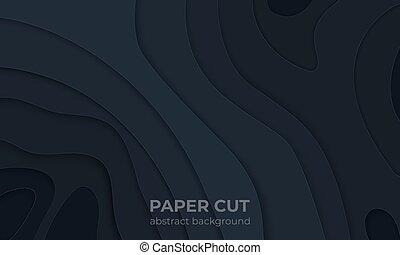 ベクトル, wallpaper., 地形, 液体, ポスター, 抽象的, グラフィック, 現代, ペーパー, バックグラウンド。, 切口, 黒, テンプレート, 層, 波状, 切抜き, 3d