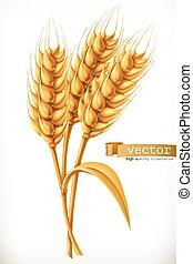 ベクトル, wheat., 耳, アイコン, 3d