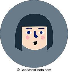 ベクトル, whiote, 女の子, 背景, 灰色, 漫画, 微笑, 円, イラスト