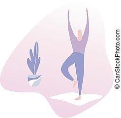 ベクトル, yoga., イラスト, オフィス, 人
