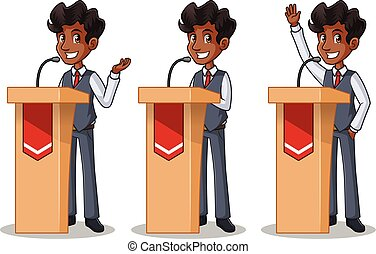 ベスト, セット, 寄付, の後ろ, スピーチ, ビジネスマン, 演壇