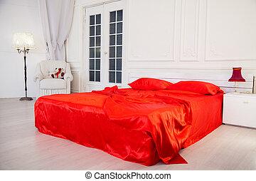 ベッドシーツ, 寝室, 内部, 白い赤