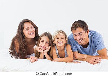 ベッド, あること, 家族, 幸せ