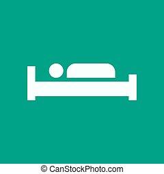 ベッド, アイコン, 印, ホテル