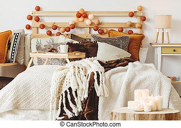ベッド, カバーされた, ∥で∥, 毛布