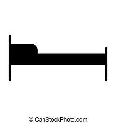 ベッド, ベクトル, ホテル, icon., 96x96, pictogram, 単純である, 最小である