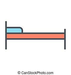 ベッド, ベクトル, 線, ホテル, icon., 96x96, pictogram, 単純である, 最小である