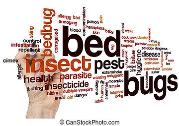 ベッド, 単語, 虫, 雲