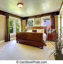 ベッド, 大きい, 優雅である, 緑, 寝室, curtains.