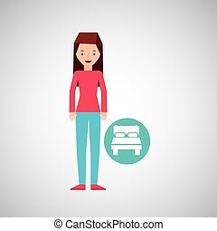 ベッド, 女の子, 旅行者, 漫画, グラフィック, ホテル, デザイン