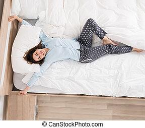 ベッド, 女, の上, 彼女, 目覚めること