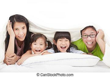 ベッド, 家族, 幸せ