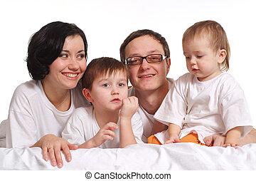 ベッド, 幸せ, ジャージ, 家族, 4, 白