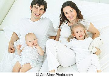 ベッド, 幸せ, 寝室, 肖像画, 家族