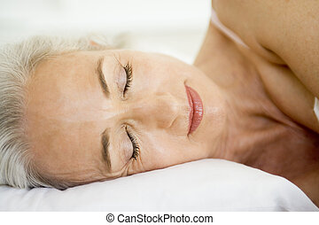 ベッド, 睡眠, あること, 女