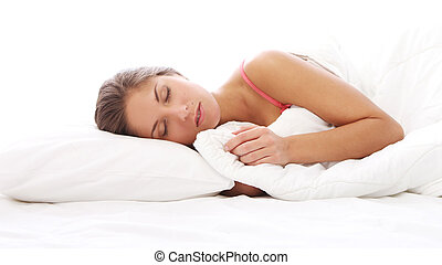 ベッド, 睡眠, 美しい女性