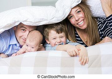 ベッド, morning., 写真, 家族, 4, あること, 情事, 白